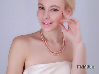 2 strand  pink freshwater pearl necklace FNM054 Image 3