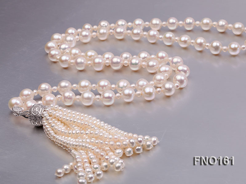 10-11mm Round White Freshwater Pearl Necklace big Image 2
