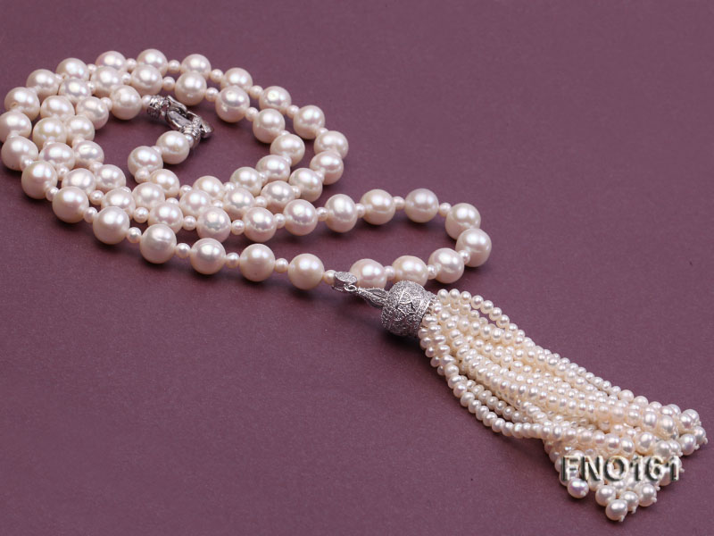 10-11mm Round White Freshwater Pearl Necklace big Image 3