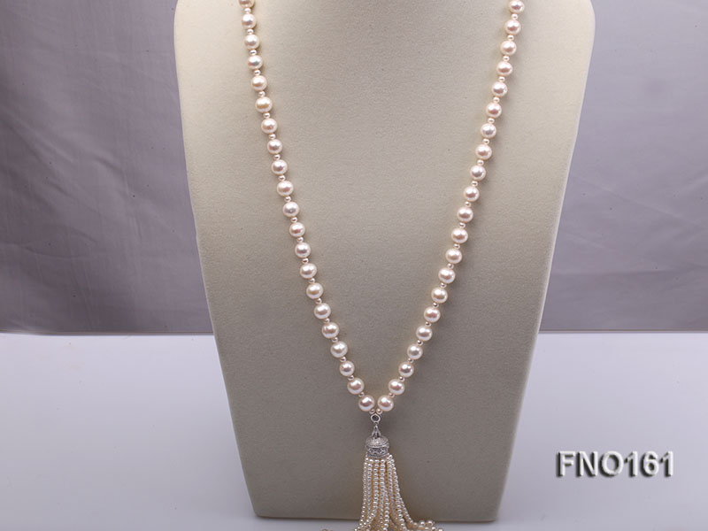 10-11mm Round White Freshwater Pearl Necklace big Image 1