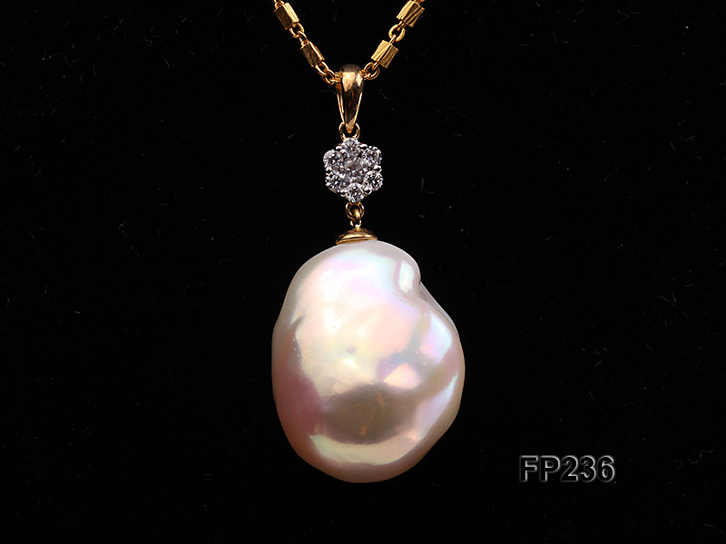 22x28mm Baroque Top-grade Freshwater Pearl Pendant with an 18k Gold Pendant Bail big Image 2