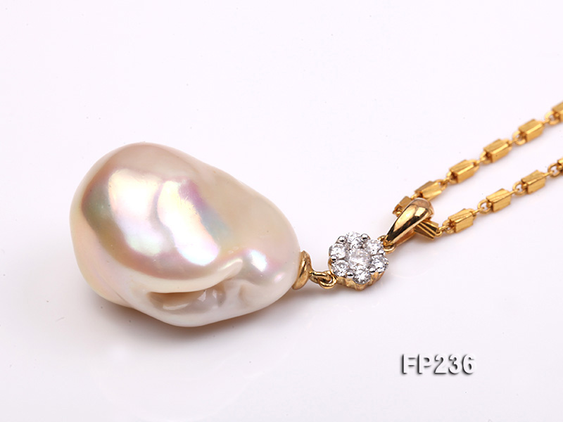 22x28mm Baroque Top-grade Freshwater Pearl Pendant with an 18k Gold Pendant Bail big Image 3