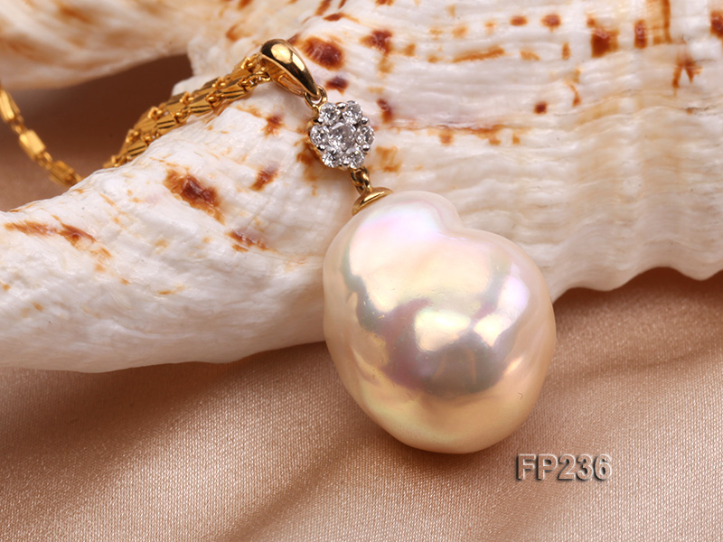 22x28mm Baroque Top-grade Freshwater Pearl Pendant with an 18k Gold Pendant Bail big Image 6