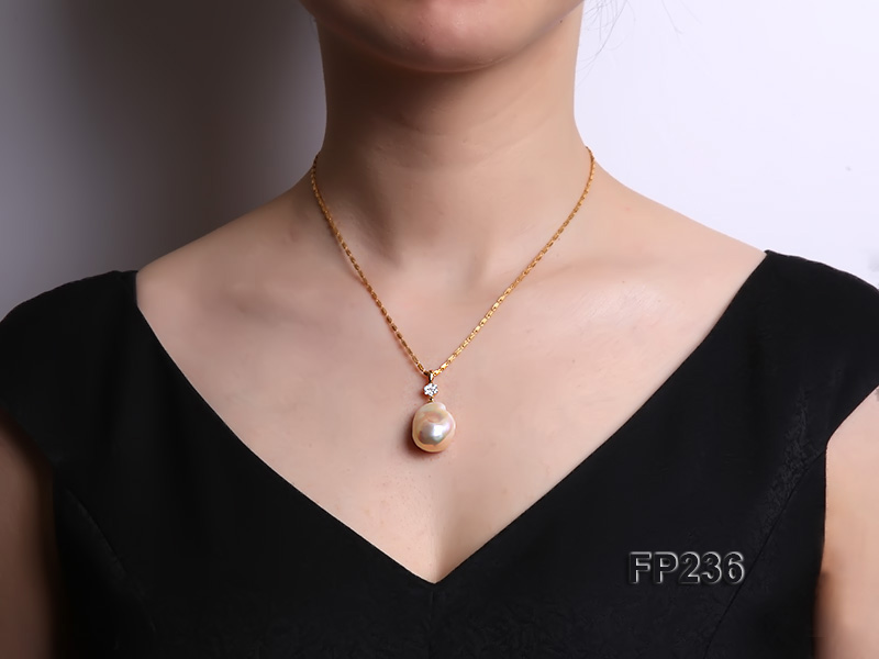 22x28mm Baroque Top-grade Freshwater Pearl Pendant with an 18k Gold Pendant Bail big Image 7