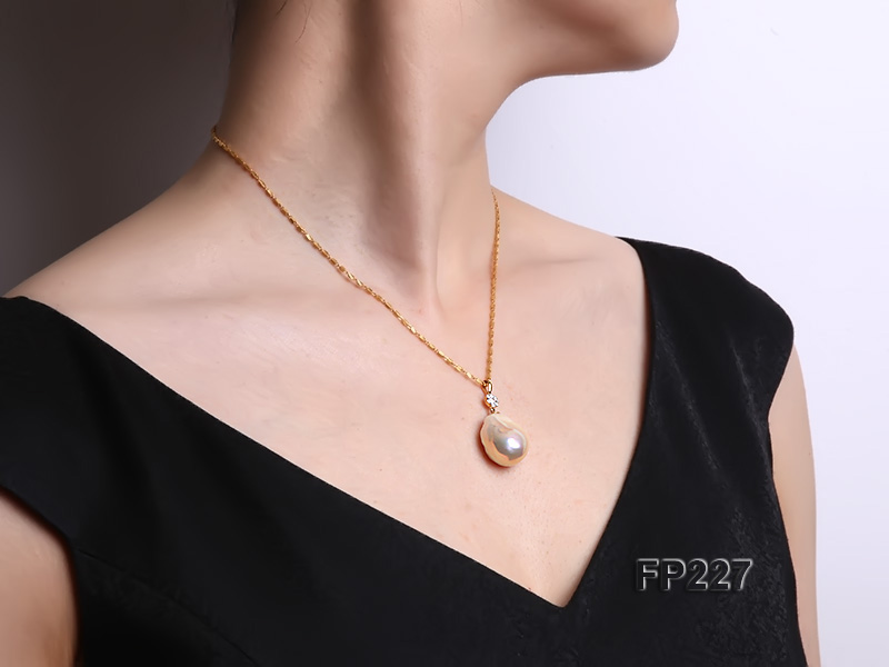 22x28mm Baroque Top-grade Freshwater Pearl Pendant with an 18k Gold Pendant Bail big Image 8