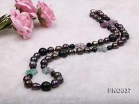 Black 12-13 rice shaped freshwater pearl necklace FNO837