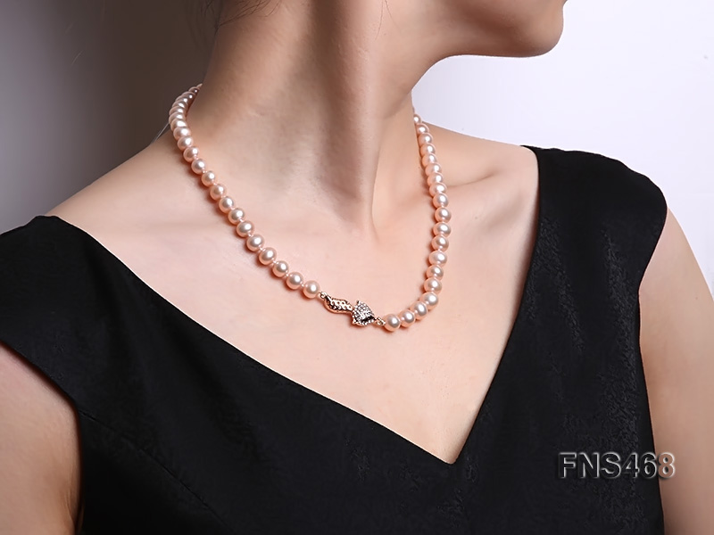 high quality 8-9mm pink near round freshwater pearl necklace big Image 1
