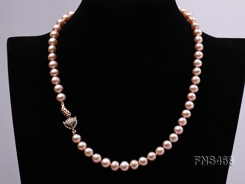 high quality 8-9mm pink near round freshwater pearl necklace big Image 2