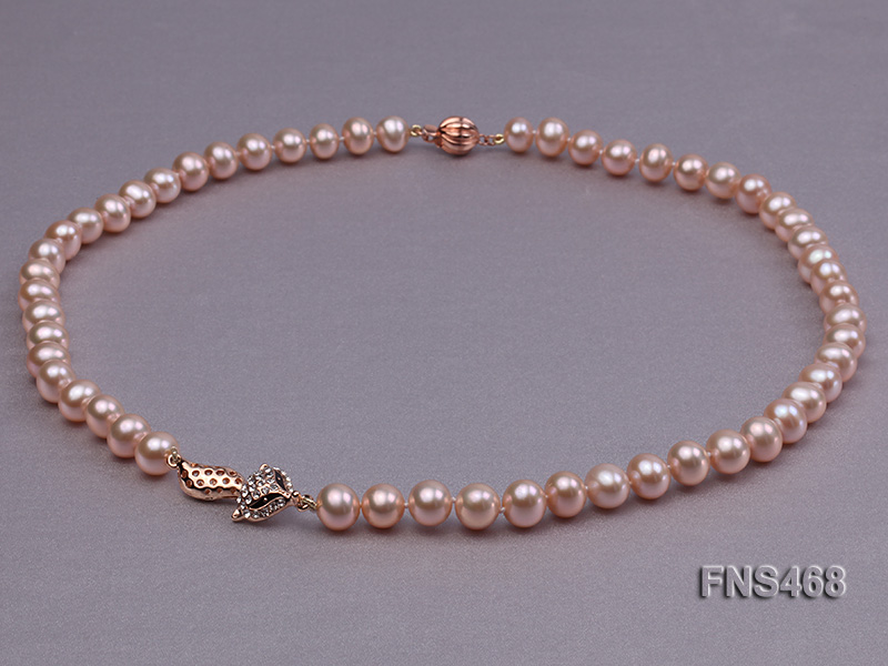 high quality 8-9mm pink near round freshwater pearl necklace big Image 3