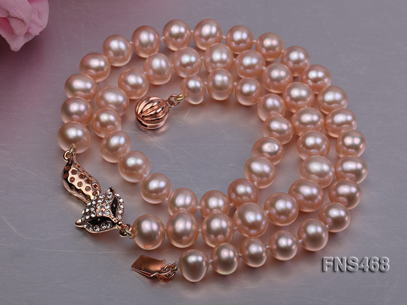high quality 8-9mm pink near round freshwater pearl necklace big Image 5