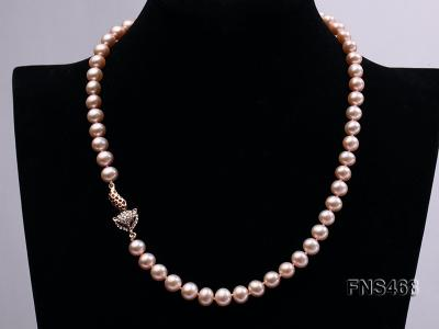 high quality 8-9mm pink near round freshwater pearl necklace FNS468 Image 2