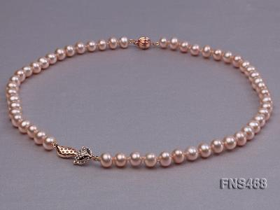 high quality 8-9mm pink near round freshwater pearl necklace FNS468 Image 3