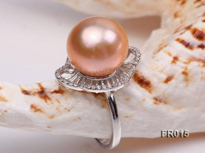 natural 13.5mm pink Edison pearl ring FR015 Image 4
