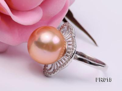 natural 13.5mm pink Edison pearl ring FR015 Image 1