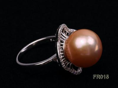 natural 13.5mm pink Edison pearl ring FR015 Image 5