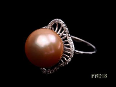 natural 13.5mm pink Edison pearl ring FR015 Image 6