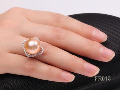 natural 13.5mm pink Edison pearl ring FR015 Image 8