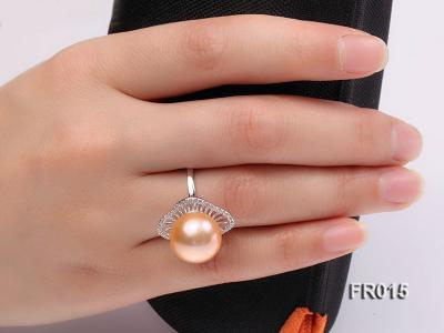 natural 13.5mm pink Edison pearl ring FR015 Image 9
