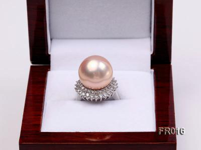 natural 15mm pink edison pearl ring FR016 Image 2