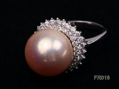 natural 15mm pink edison pearl ring FR016 Image 3