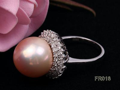 natural 15mm pink edison pearl ring FR016 Image 4