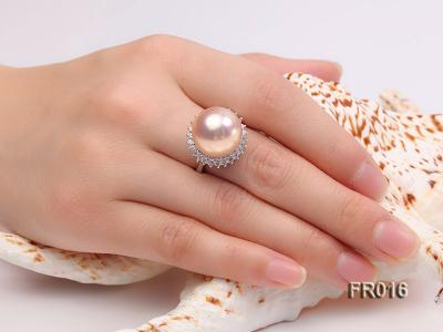 natural 15mm pink edison pearl ring FR016 Image 7