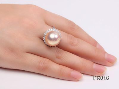 natural 15mm pink edison pearl ring FR016 Image 8