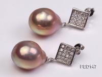 14x18mm Lavender Drop-shaped Freshwater Pearl Earring FED147