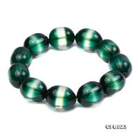 14x18mm Green Crystal Beads Elastic Bracelet CFB023