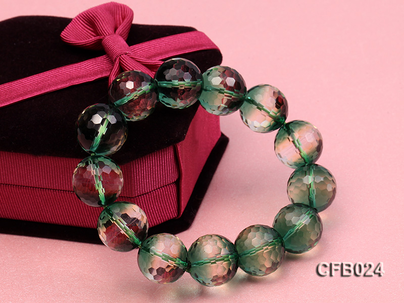 14mm Green Round Faceted Crystal Beads Elastic Bracelet big Image 3