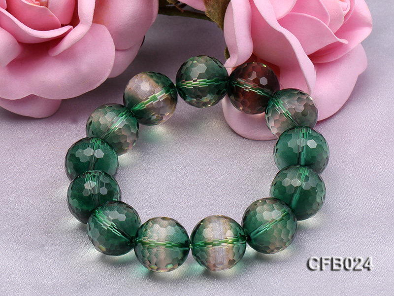 14mm Green Round Faceted Crystal Beads Elastic Bracelet big Image 4