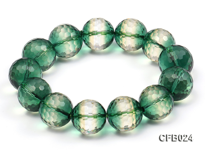 14mm Green Round Faceted Crystal Beads Elastic Bracelet big Image 5