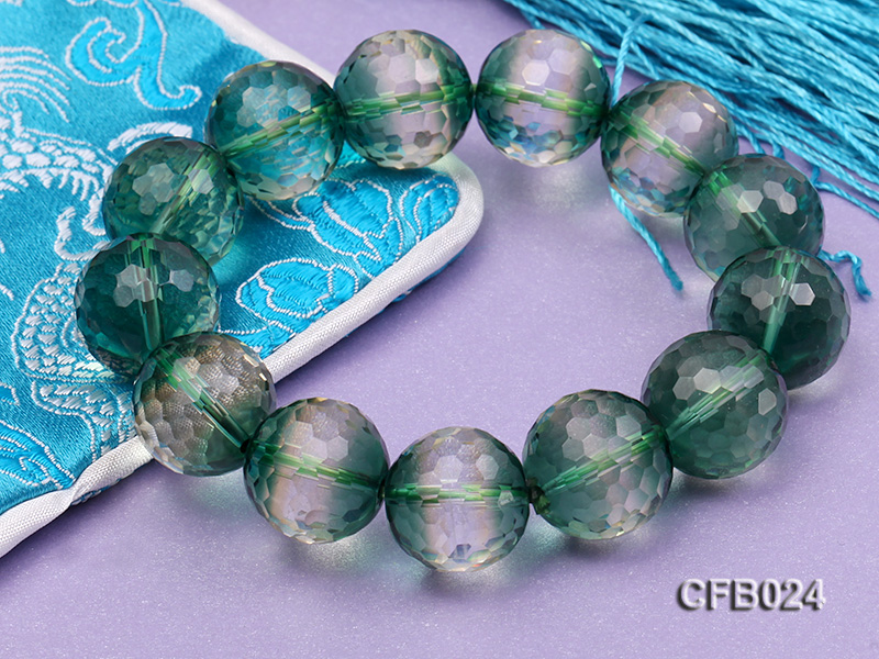 14mm Green Round Faceted Crystal Beads Elastic Bracelet big Image 6