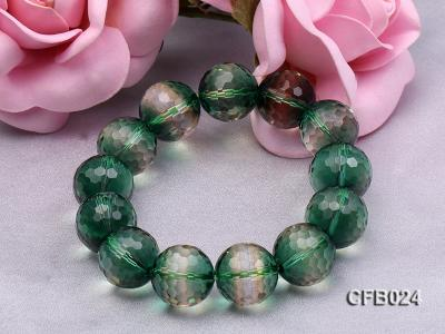 14mm Green Round Faceted Crystal Beads Elastic Bracelet CFB024 Image 4