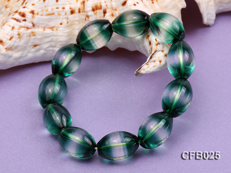 12x18mm Green Crystal Beads Elastic Bracelet big Image 3
