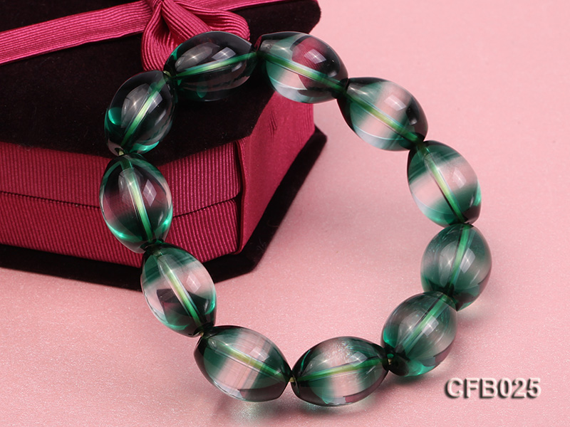 12x18mm Green Crystal Beads Elastic Bracelet big Image 4