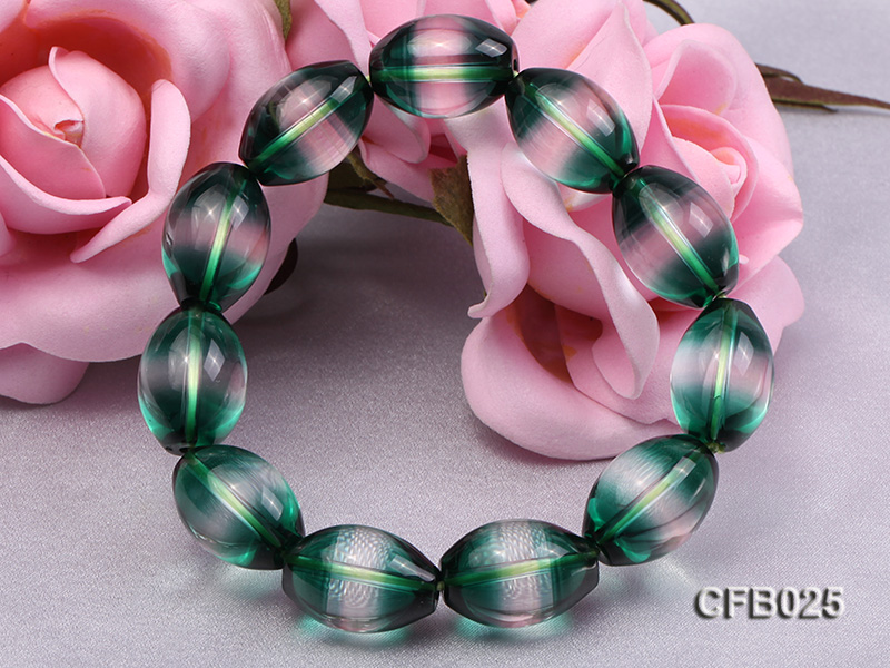 12x18mm Green Crystal Beads Elastic Bracelet big Image 5