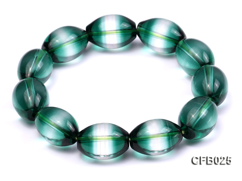 12x18mm Green Crystal Beads Elastic Bracelet big Image 6