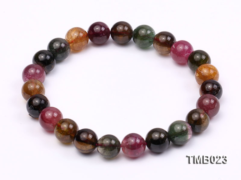 8mm Colorful Round Natural Tourmaline Beads Elasticated Bracelet big Image 1