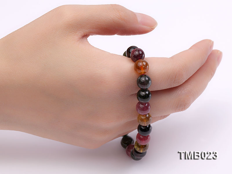 8mm Colorful Round Natural Tourmaline Beads Elasticated Bracelet big Image 2