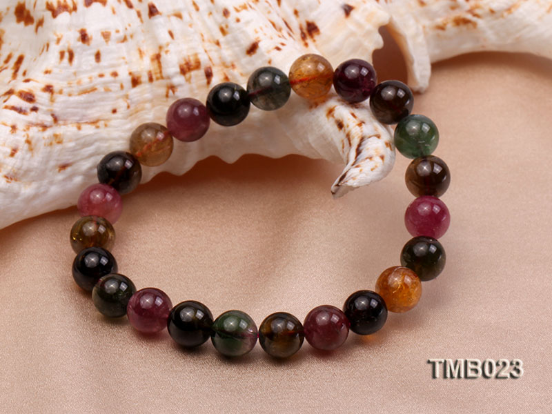 8mm Colorful Round Natural Tourmaline Beads Elasticated Bracelet big Image 3