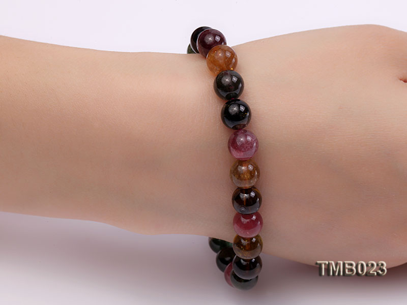 8mm Colorful Round Natural Tourmaline Beads Elasticated Bracelet big Image 4