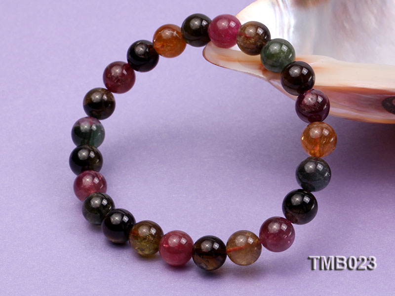 8mm Colorful Round Natural Tourmaline Beads Elasticated Bracelet big Image 5