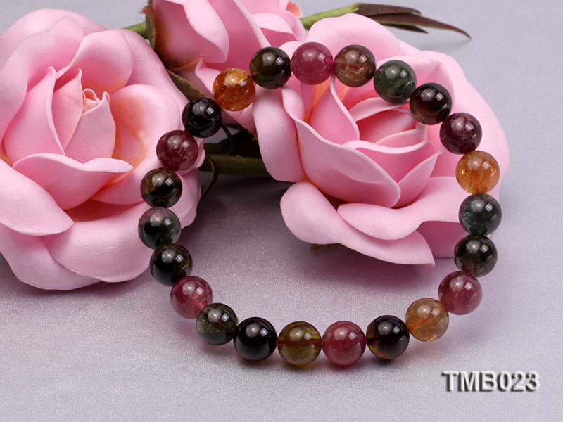 8mm Colorful Round Natural Tourmaline Beads Elasticated Bracelet big Image 6
