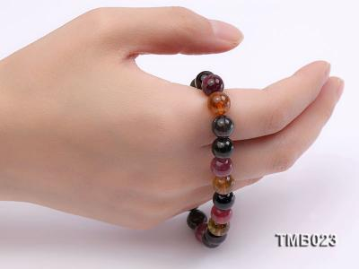 8mm Colorful Round Natural Tourmaline Beads Elasticated Bracelet TMB023 Image 2