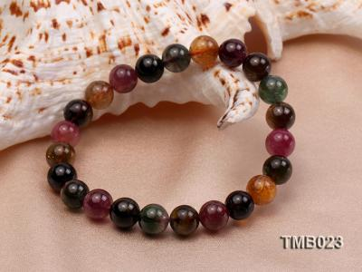 8mm Colorful Round Natural Tourmaline Beads Elasticated Bracelet TMB023 Image 3