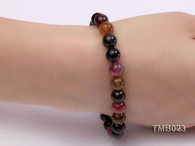 8mm Colorful Round Natural Tourmaline Beads Elasticated Bracelet TMB023 Image 4