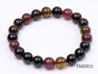 9mm Colorful Round Natural Tourmaline Beads Elasticated Bracelet TMB024