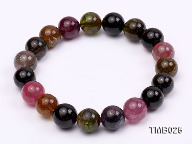 11mm Colorful Round Natural Tourmaline Beads Elasticated Bracelet big Image 1