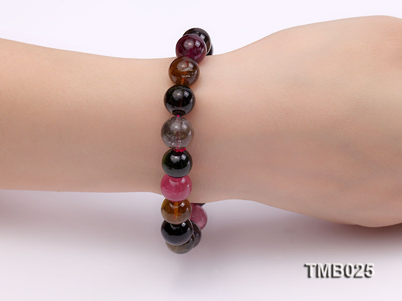11mm Colorful Round Natural Tourmaline Beads Elasticated Bracelet big Image 2